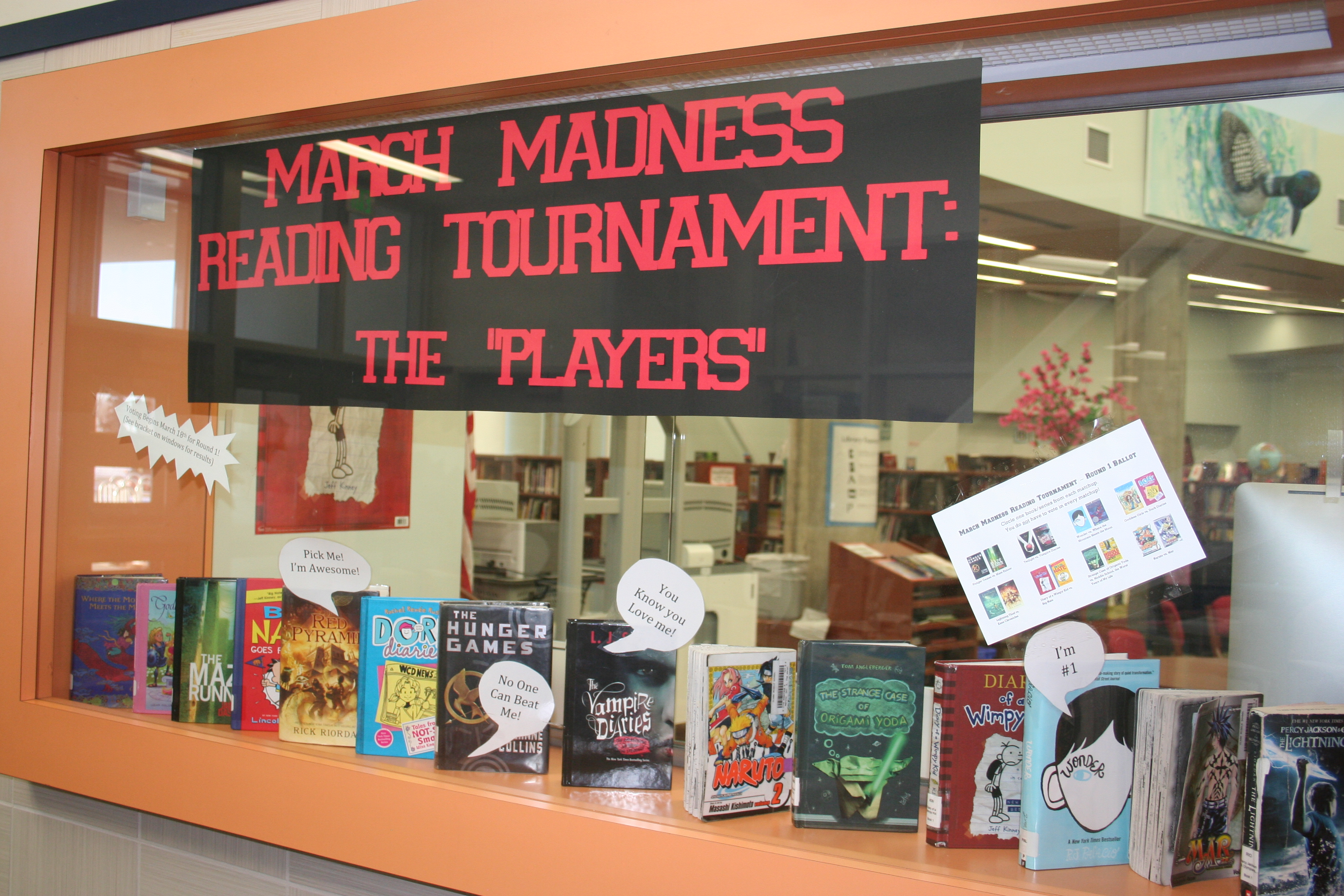 March Madness Reading Tournament on March Madness Library Bulletin Board